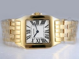 Fake Cool Cartier Montre Santos Demoiselle Man Size Full Gold with White Dial AAA Watches [O1Q5]