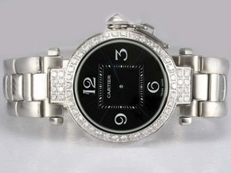 Fake Cool Cartier Pasha Diamond Bezel with Black Dial AAA Watches [M5B9]