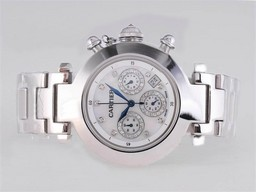 Fake Cool Cartier Pasha Working Chronograph Diamond Marking with White Dial AAA Watches [K2P4]