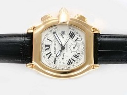 Fake Cool Cartier Roadster Chronograph Automatic Gold Case with White Dial AAA Watches [V7L7]