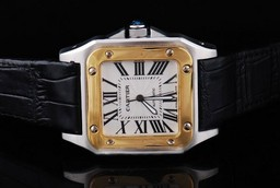 Fake Cool Cartier Santos 100 Automatisk To Tone med White Dial - Brun Strap AAA Klokker [ W4L6 ]