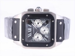 Fake Fancy Cartier Santos 100 Chronograph Automatic with Black Dial-Rubber Strap AAA Watches [A8V7]