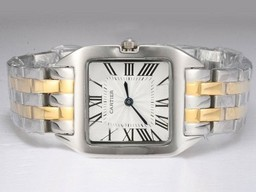Falso Grande Cartier Santos 100 Two Tone com White Dial Lady tamanho AAA Watches [ I9G8 ]