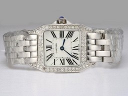 Fake Perfect Cartier Montre Santos Demoiselle Diamond Bezel with White Dial Lady Size AAA Watches [M5E1]
