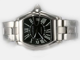 Fake Perfect Cartier Roadster Luminor Automatic with Black Dial AAA Watches [C3S1]