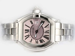 Fake Perfect Cartier Roadster with Pink Dial-Ladys Model AAA Watches [A7X2]