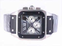 Fake Perfect Cartier Santos 100 Chronograph Automatic with Black Dial-Rubber Strap AAA Watches [E4C7]
