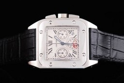 Fake Perfect Cartier Santos 100 Quartz Movement Silver Case with White Dial AAA Watches [A5N7]