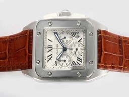 Fake Perfect Cartier Santos 100 Working Chronograph with White Dial AAA Watches [F9Q1]