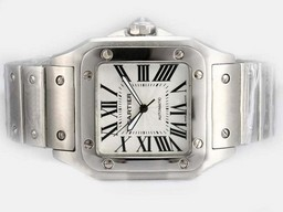 Fake Vintage Cartier Santos 100 Automatic with White Dial-38MM AAA Watches [M1H7]