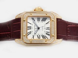 Fake Vintage Cartier Santos 100 Movement With Gold Case Diamond AAA Watches [D5I6]