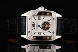 Fake Vintage Cartier Santos 100 Tourbillon Automatic Movement Silver Case AAA Watches [T4M8]