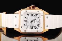 Fake Vintage Cartier Santos 100 automatic Gold Case with White Bezel AAA Watches [I9C6]