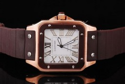 Fake Vintage Cartier Santos 100 automatic Rose Gold Case with chocolate Bezel AAA Watches [N7S3]