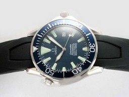 Fake Fancy Omega Seamaster Automatic met Blue Dial- Rubber Strap AAA Horloges [ D5H8 ]
