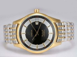 Fake Popular Omega Hour Vision See Thru Case Automatic Two Tone with Black Dial AAA Watches [H1D2]