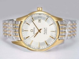 Fake Popular Omega Hour Vision See Thru Case Automatic Two Tone with White Dial AAA Watches [N5G4]