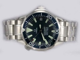 Fake Popular Omega Seamaster Automatic with Blue Dial and Bezel Lady Size AAA Watches [J6O1]