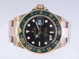 Fake Cool Rolex GMT - Master II Automatic Gold met Black Dial - Green Bezel AAA Horloges [ A1S1 ]