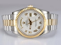 Falso Splendida Rolex Day-Date Movimento Two Tone con quadrante bianco Orologi AAA [ J9P4 ]