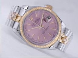 Fake Modern Rolex Datejust Movement Two Tone Pink Dial AAA kello