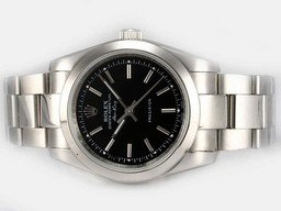 Perfect Fake Rolex Air-King Oyster Perpetual automatique avec cadran noir AAA Montres [ N1U3 ]