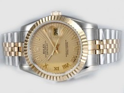 Perfect Fake Rolex Datejust automatique Two Tone avec marquage or Dial -romaine Montres AAA [ __gVirt_NP_NN_NNPS