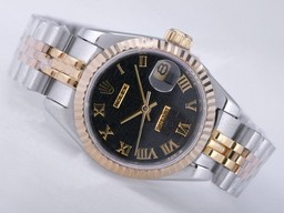 Mouvement Datejust Perfect Fake Rolex Deux Tons AAA Montres [ U9T6 ]