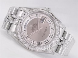 Fake populares Rolex Day-Date Movimiento Diamond Bisel Con Esfera Gris Relojes AAA [ U6V4 ]