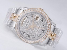 Fake populares Rolex Day-Date Movimiento Two Tone Diamond Bisel AAA relojes [ G8K8 ]